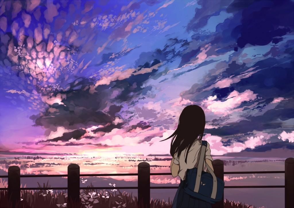 Konachan.com - 222260 black_hair clouds grass landscape long_hair original scenic seifuku shirt skirt sky uwa